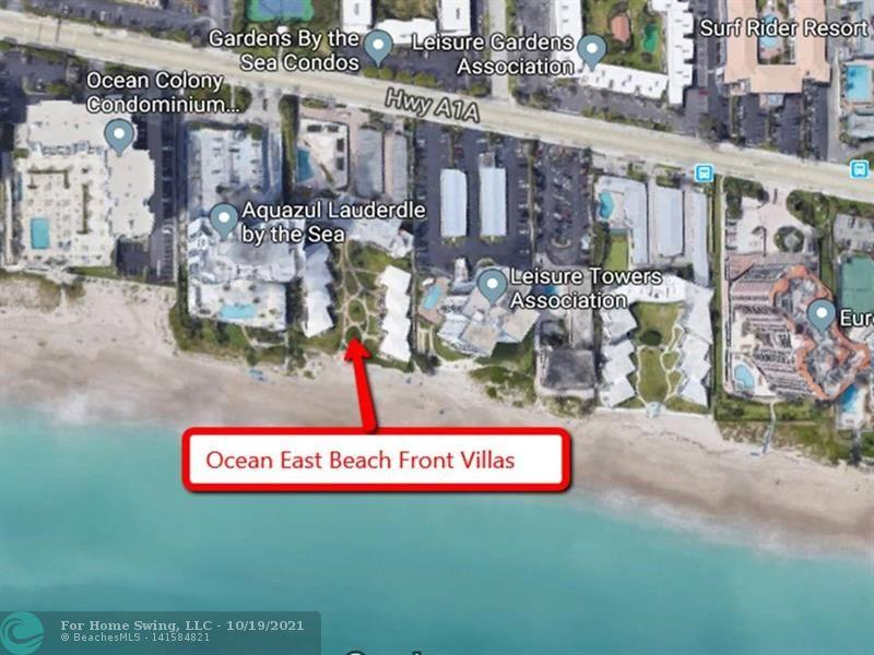 WOW! HIDDEN TREASURE & RARELY AVAILABLE! BEACH FRONT VILLA WITH DIRECT MILLION DOLLAR OCEAN VIEWS! Inventory is tight! Experience the Florida Beach lifestyle! Enjoy coffee or wine on your corner unit covered wraparound patio just steps to the sand. See sunrise & waves from your living area. Renovated unit with open floor plan. NEW A/C 2021. Features 2 bedroom suites with hurricane impact protection throughout, washer & dryer in the unit, covered parking & large storage cage. Community features inviting pool and patio, BBQ, onsite office and maintenance, 60 yr inspection complete, no land lease, well maintained boutique community. No age restrictions & rentals are allowed with restrictions. Conveniently located close to nightlife, restaurant