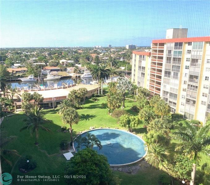 Enjoy the Florida Lifestyle in this 10th Floor Penthouse 2 Bedroom 2 Bath condo in Garden Aire Village Sea Haven located a short distance to the beach. Offered fully furnished and ready for you! Open updated kitchen with pantry, tile floors, expanded living area into the balcony, split bedroom floorplan, 2 walk-in closets, wall safe, overlooking a beautiful fountain and marina with dockage(when available), covered parking with storage and washer & dryer on the 10th floor. This is a very active 55+ building with heated pool, fitness center, clubhouse, BBQ areas, shuffleboard. Building is centrally located in the heart of Pompano Beach just 2 short blocks to the beach, close to many restaurants, shopping, Whole Foods, HomeGoods, boat ramp is