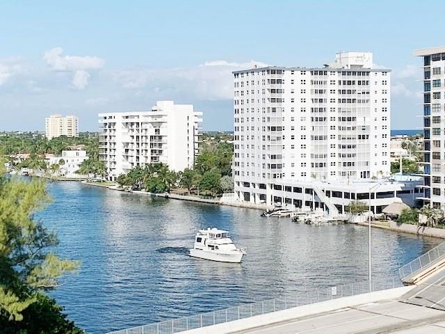 Panoramic Intracoastal, ocean & city views from the 8 FLR. This is a 1450sf Bright & light 2/2 split bedroom unit, Impact windows & sliders and AC are 1yr, no popcorn, freshly painted, full size W & D in unit, custom cabinets in 3 walk-in closets, extra storage on same floor as unit. Great news! This building has fire sprinkler system already. One of the most sought after building on the West side of the Intracoastal so no waiting on the bridge. Resort style heated pool directly by the water, BBQ, 24/7 security, garage parking, updated gym, 2 pets up to 25LBS each welcome! Building is centrally located in the heart of Pompano Beach just 2 short blocks to the beach, close to many restaurants, shopping, Whole Foods, HomeGoods, boat ramp is ne