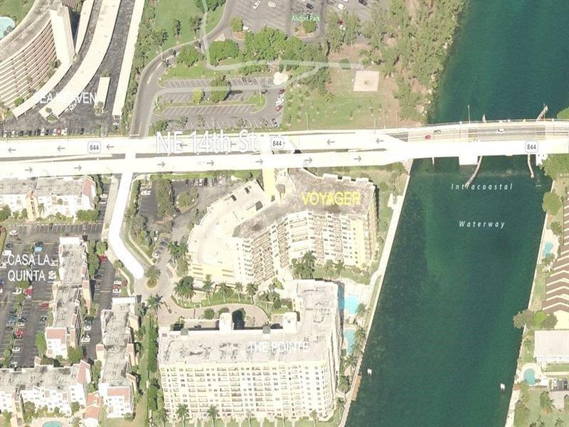 Ariel view. The Voyager is located on the West side of the Intracoastal so you never need to wait for the bridge.