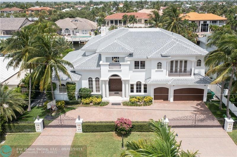 Prestigious Royal Palm contractor built home; new roof & ext. paint in 2021 with remodeled pool/patio all on pilings; 100' waterfront; new 80' dock, 100/50 amp service; 5K lb lift. 5 mins from your dock to Hillsboro Inlet!  Hurricane protection; diesel 22KW whole house gen.; lightning protection.  New A/C's/hot water heater; A/C in 3 car garage. Inside you will find remodeled kitchen w/gas Viking Pro stove; dual Sub Zero frig/freezer & 48 bottle wine cooler + 1,000 bottle wine rm; 2 dishwashers.  1st floor offers a waterside family room, breakfast area, formal dining & living room, a private office, grand suite with sitting area, separate walk-in closets & wet areas in grand bath. Second floor offers 4 bedroom suites including media room wi