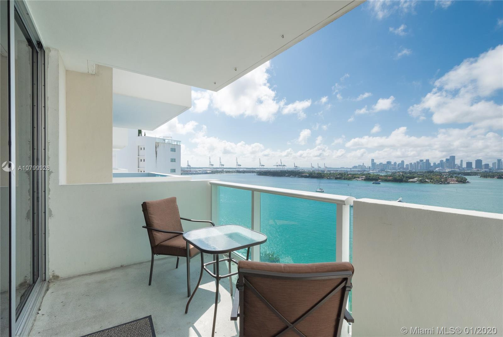 Direct, wide bay views from this high floor studio. Watch the cruise ships pass from your spacious t
