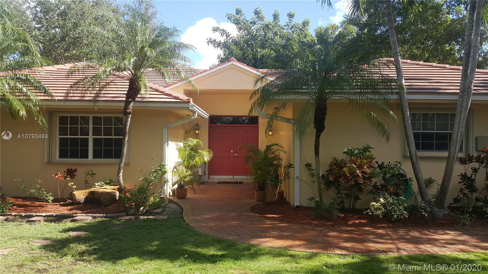 LOCATION  !!!! Unique 4/3 South Miami one story  home with 2  car garage ,   pool and hot tub, cover