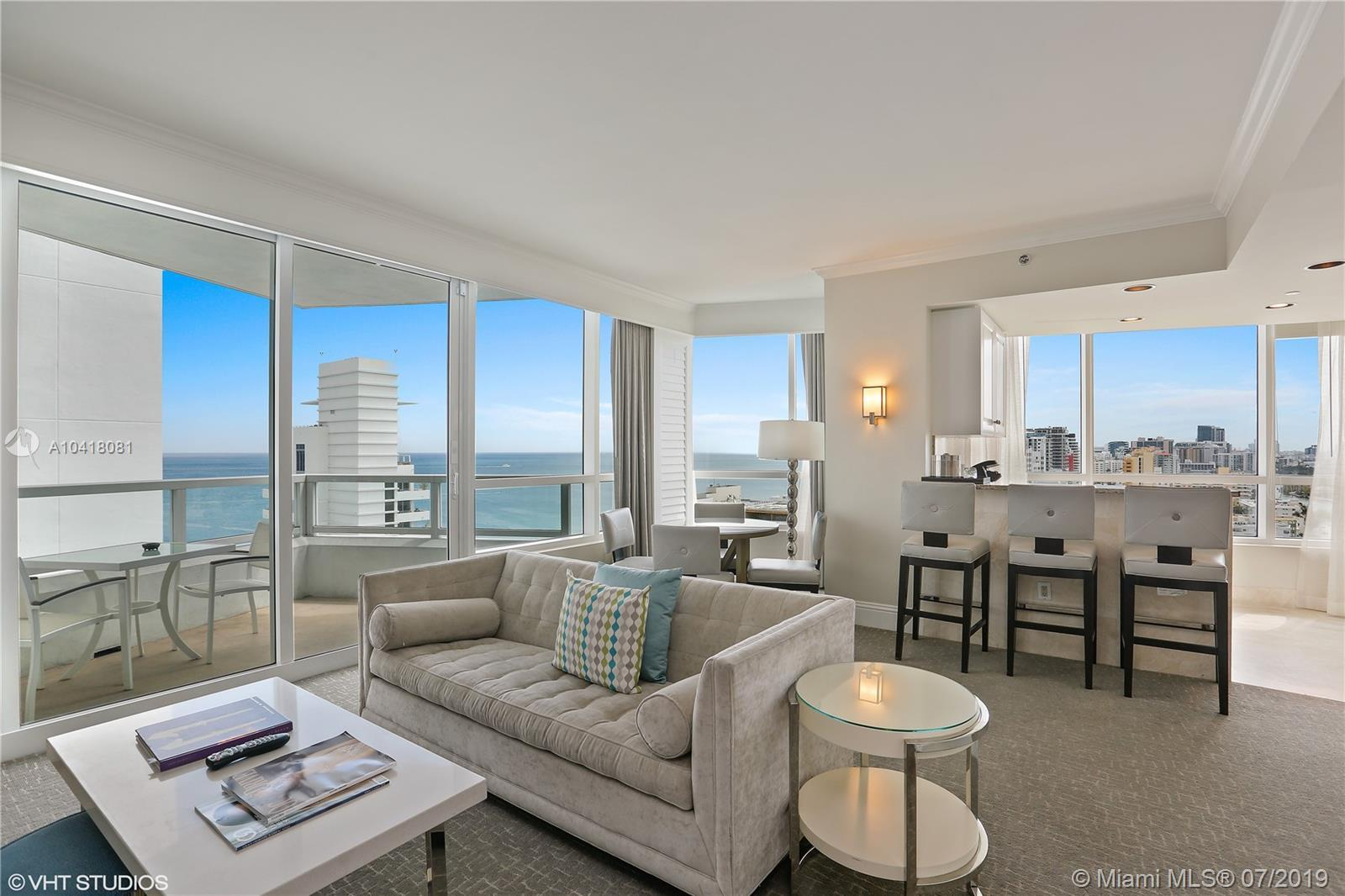 Beautiful SE corner 1 bedroom/2 bath with direct ocean & bay views at the Fontainebleau II. Enjoy fu