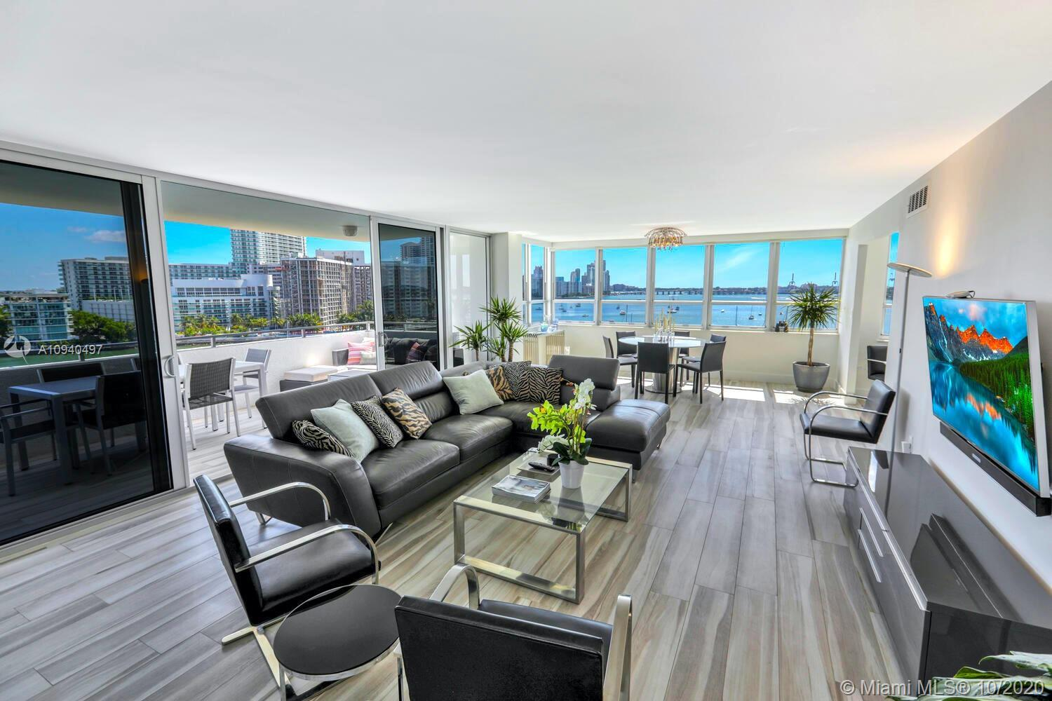 Sleek, refined fully renovated SE corner unit with unobstructed water & city views from every room.