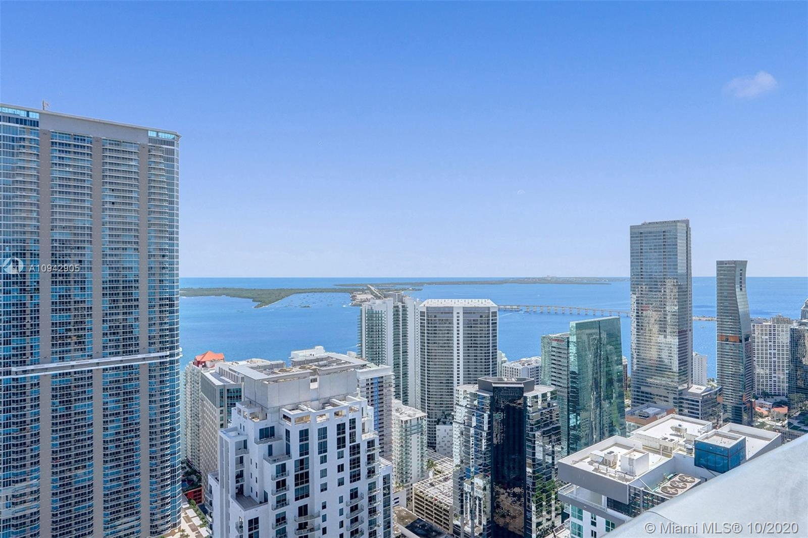Panoramic east views capture Atlantic Ocean, Biscayne Bay, Magic City Skyline and the Port of Miami