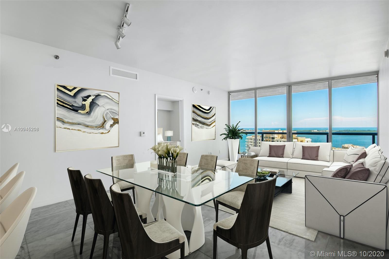 Stunning Brickell Key & Biscayne Bay views welcome you into this spacious 35th floor residence at Ic