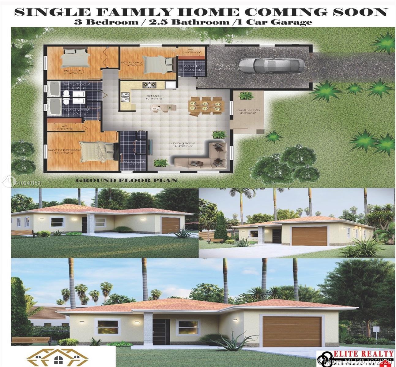 Ready for a New Owner! Amazing Brand New Construction Single Family Home! Consist of 3 Bedrooms 2.5