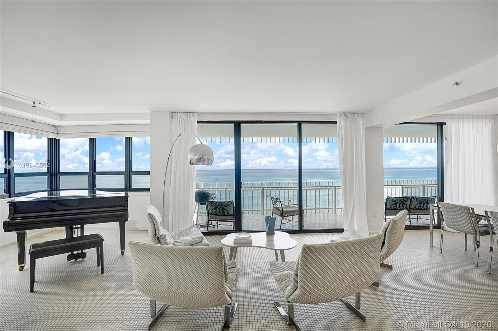 Spacious corner unit with 3 bedrooms, 2.5 baths on the beach at Kenilworth in Bal Harbour. Panoramic