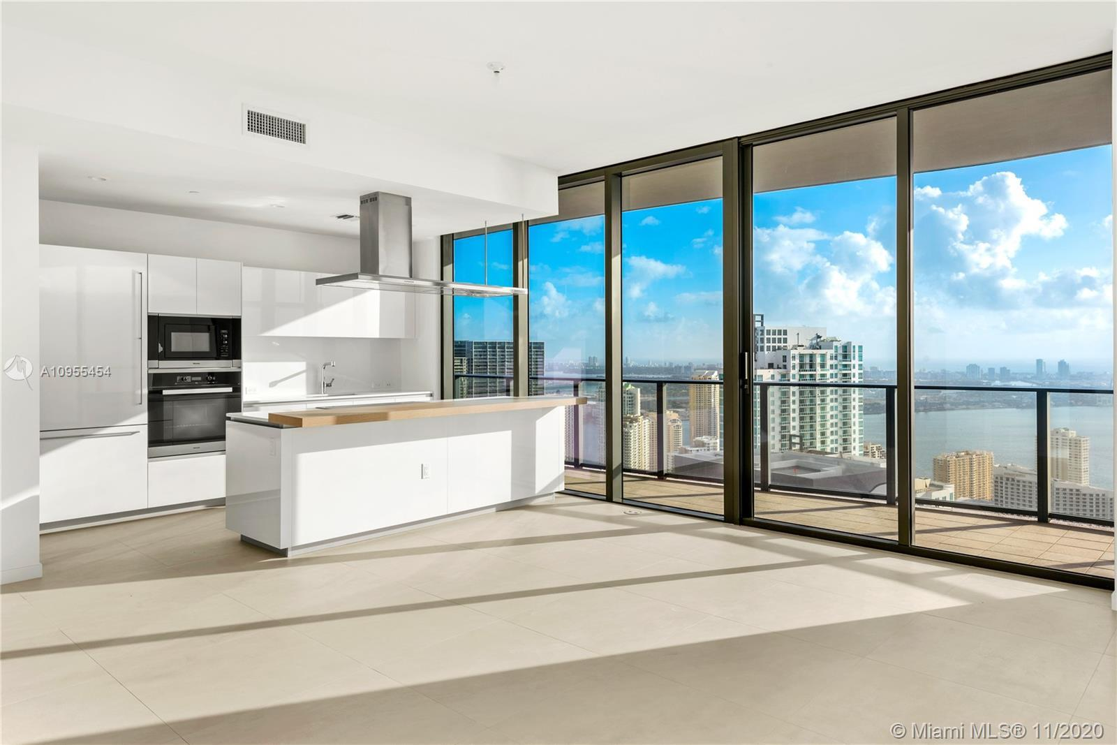 Worldclass views from this 3 Bed + Den/3.5 Bath Lower Penthouse at Brickell Flatiron with higher cei