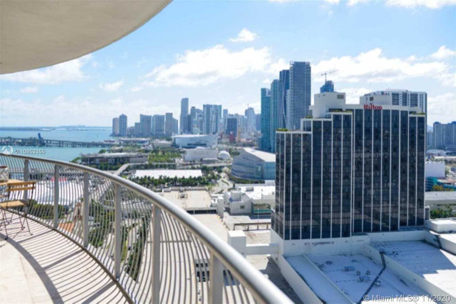 Best Skyline views of Downtown Miami and the bay, from this 2 Bed 2 bath partially furnished and equ