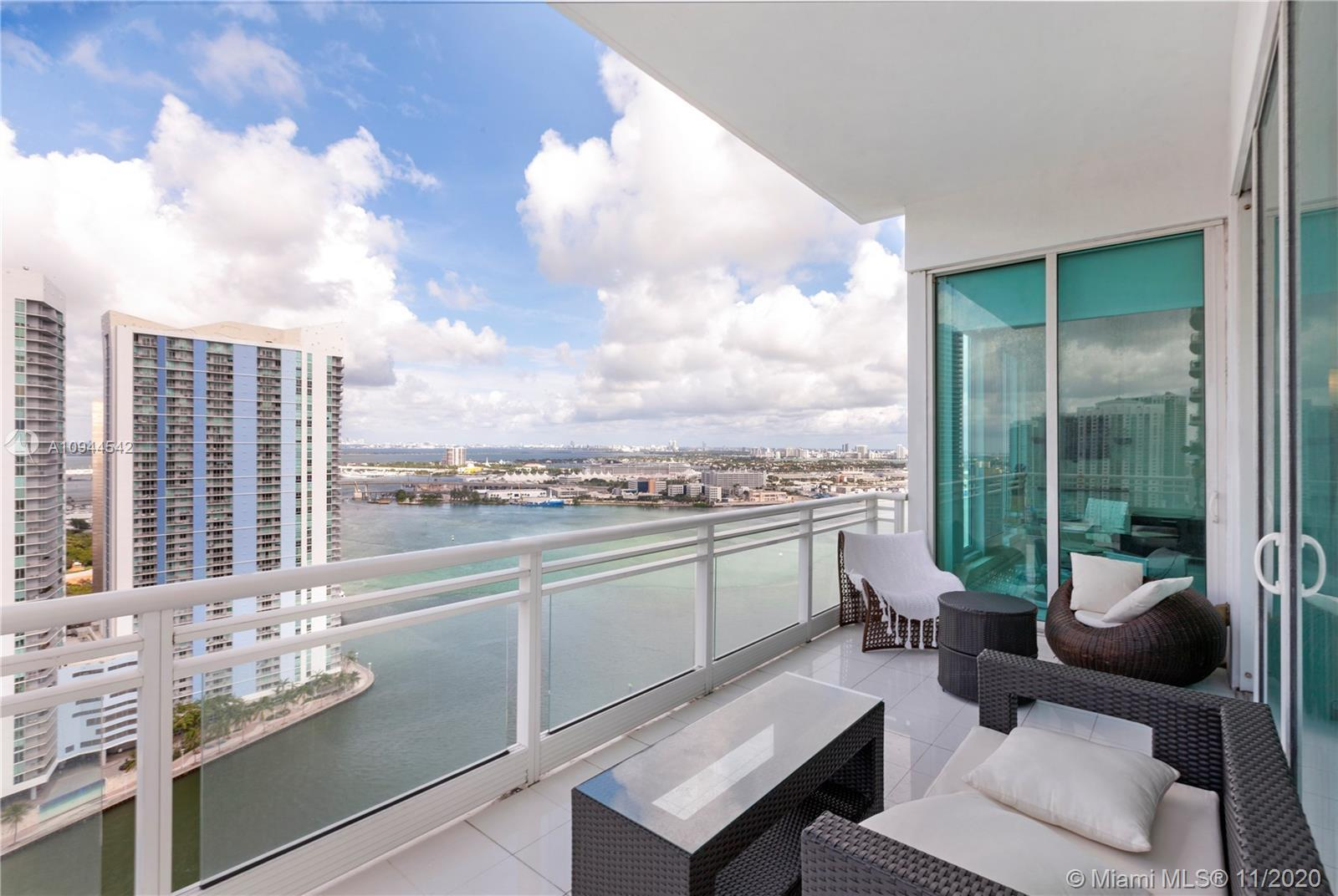 Spectacular views furnished turnkey unit at ASIA condo in Brickell key. Three bedroom & 3.5 bath cor