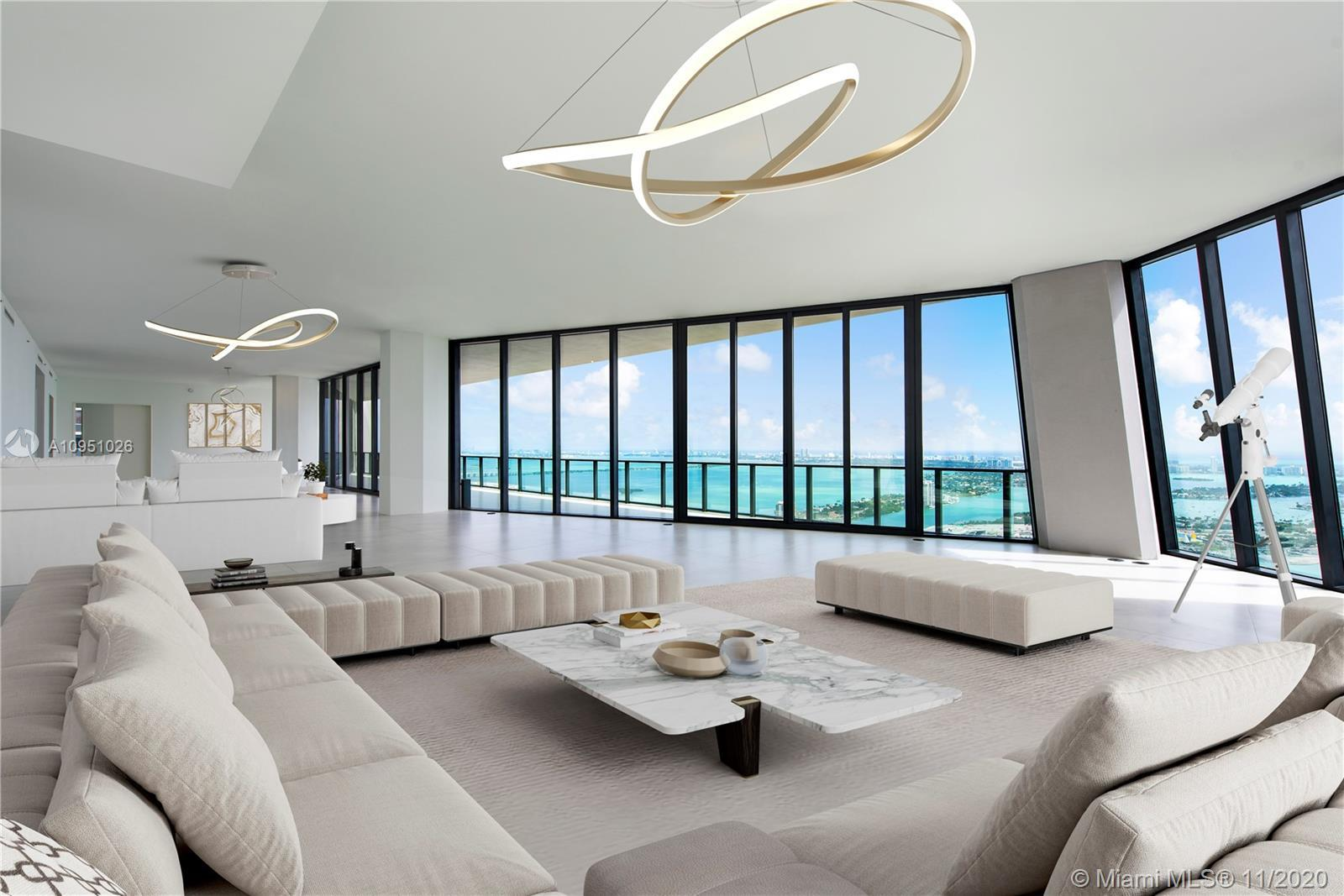 This residence floats high above the skyline and spans the entire 54th floor of one of Miami's most