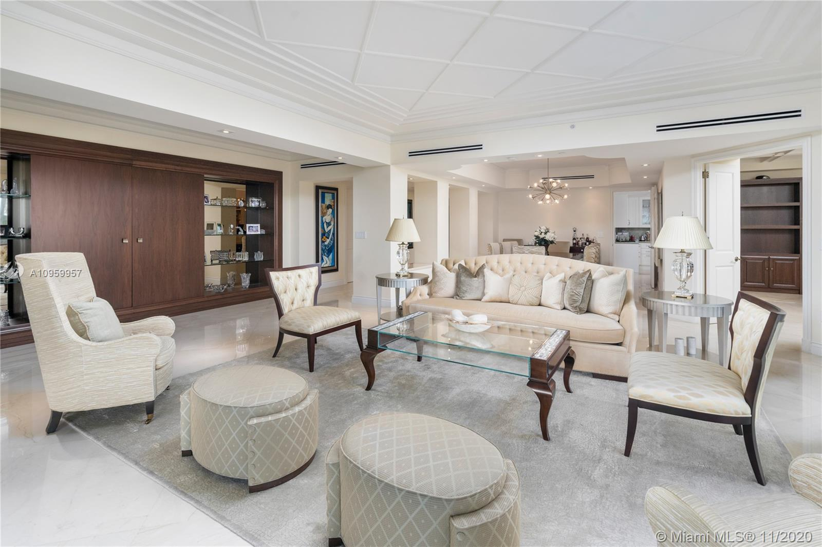 First time on the market Fisher Island Exquisitely Designed Villa Del Mare residence with high-end E