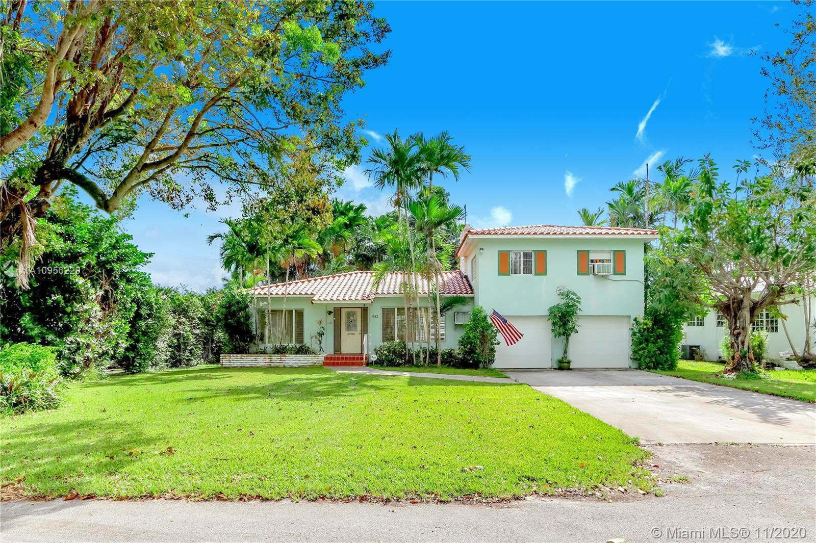 Charming 2 story home on a quiet tree-lined street east of Biscayne Blvd. in Miami Shores Village.