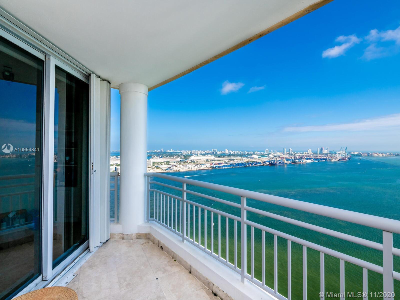 Stunning direct ocean views of Miami Beach, the port of Miami, Key Biscayne and Fisher Island from t