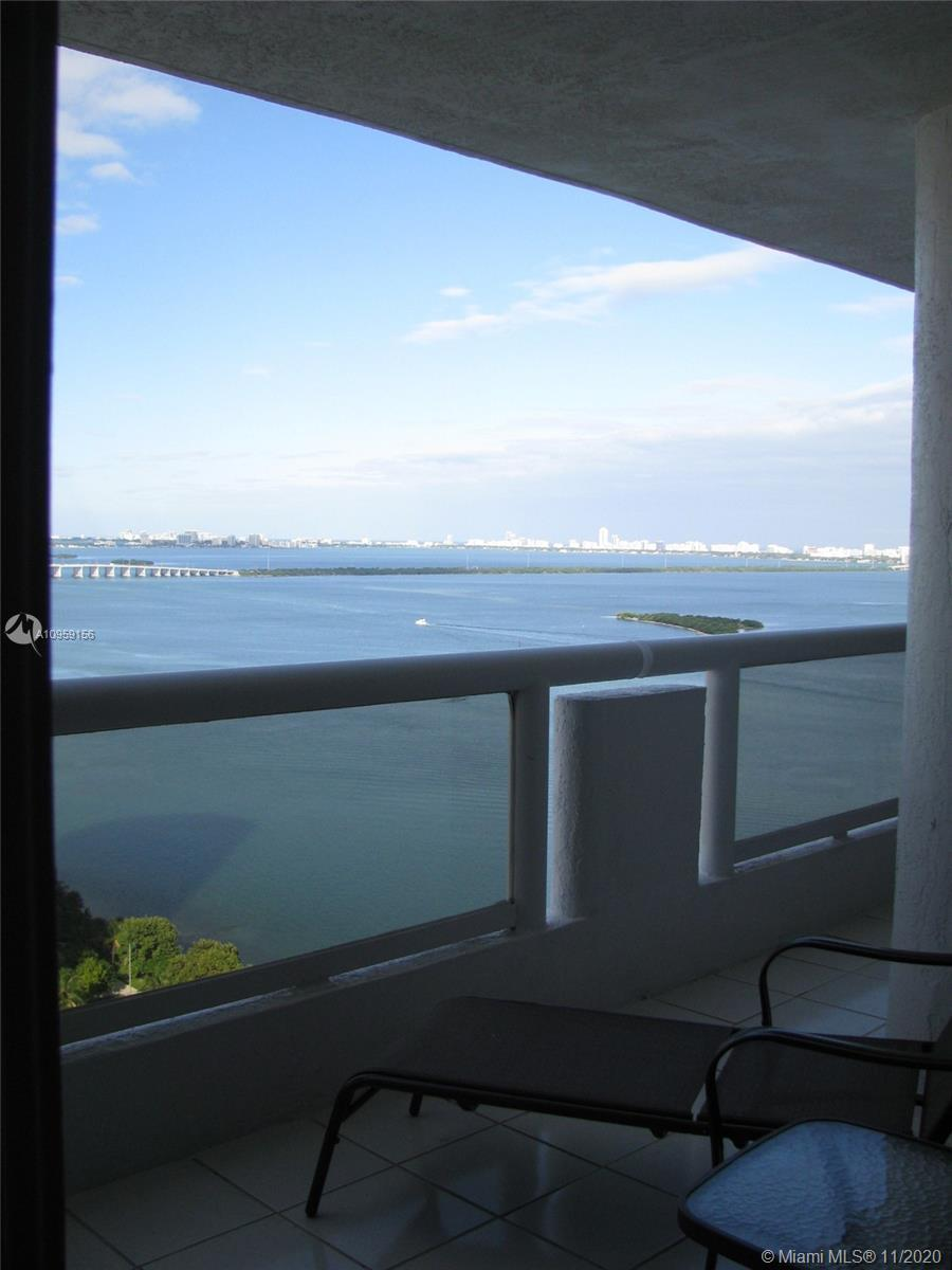 3 Bedrooms 2 baths with amazing North East views to Biscayne Bay, well updated with marble floor and