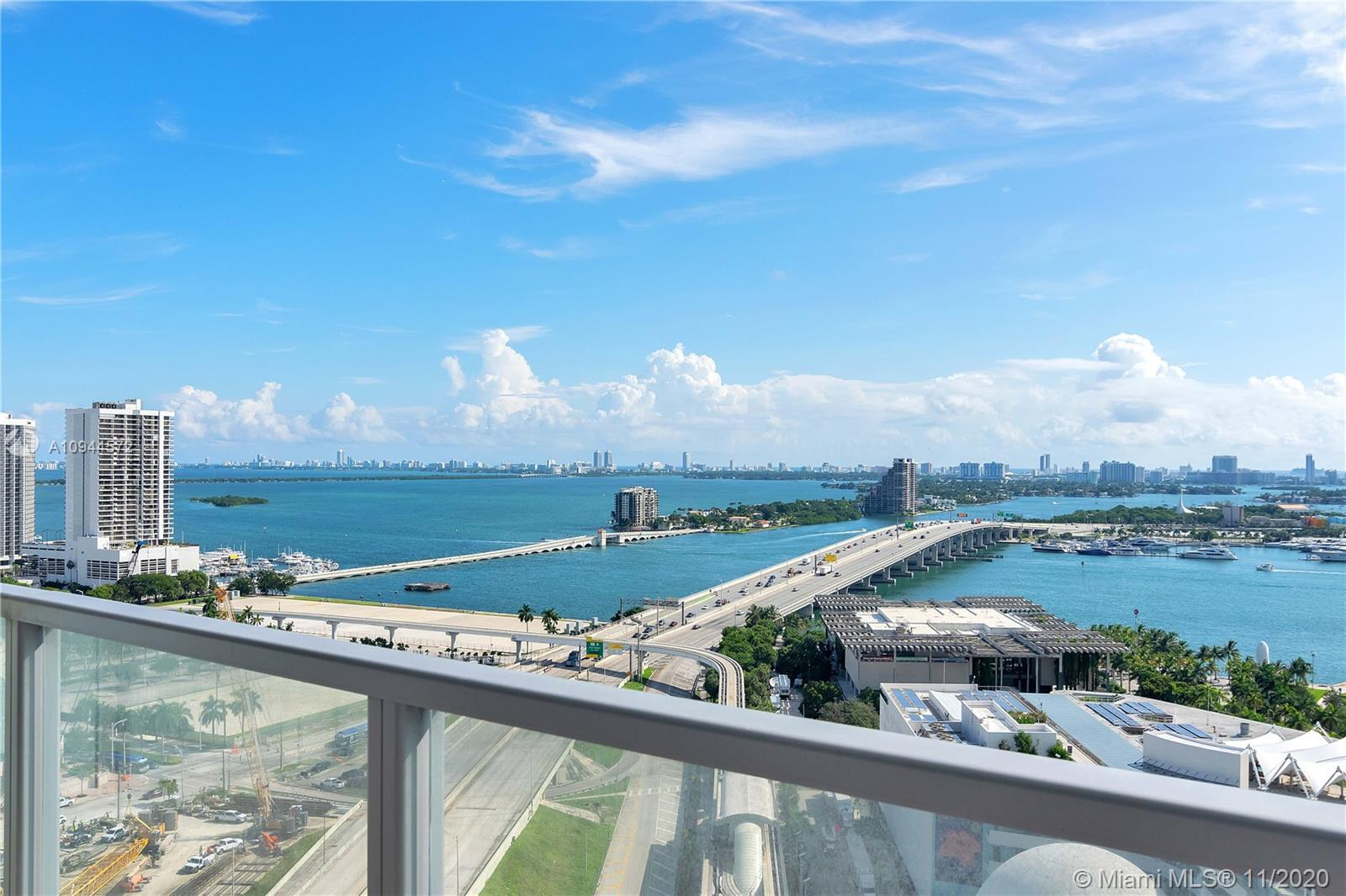 Stunning views of Biscayne Bay. This high-rise Downtown Miami condo features 2 bdrms 2.5 baths, 10-f