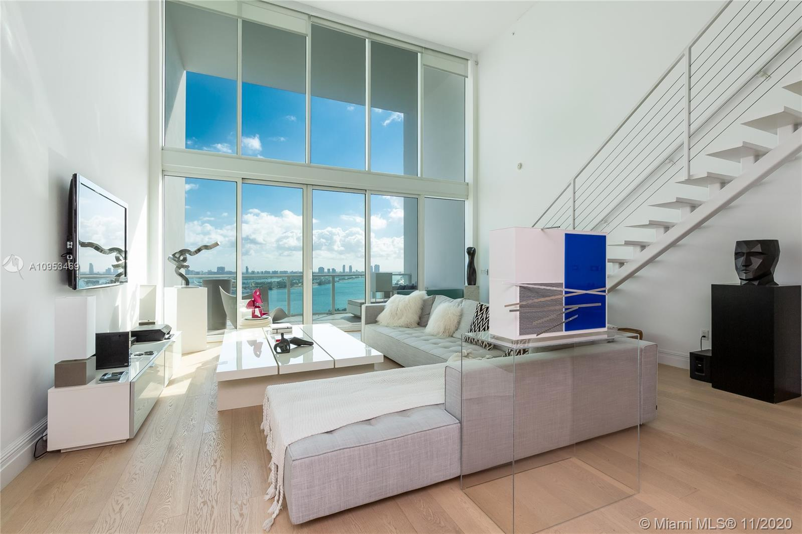 FURNISHED !! Amazing 2 story loft in Ten Museum Park with a fabulous panoramic view of Biscayne Bay
