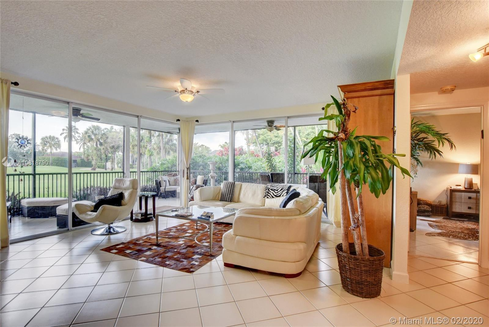 Enjoy the sunsets on the wrap around patio overlooking the golf course of this 2 bedroom, 2 bath fir