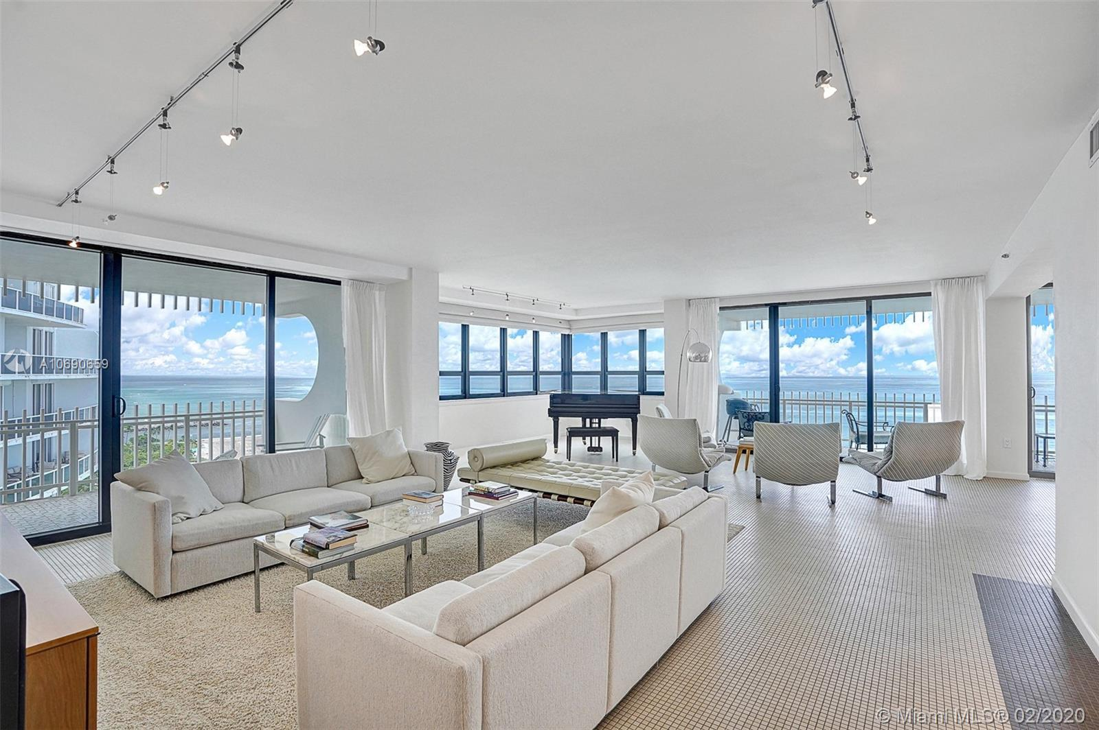 Spacious 3 bedroom, 2.5 bath on the beach at Kenilworth in Bal Harbour. Panoramic, direct ocean view