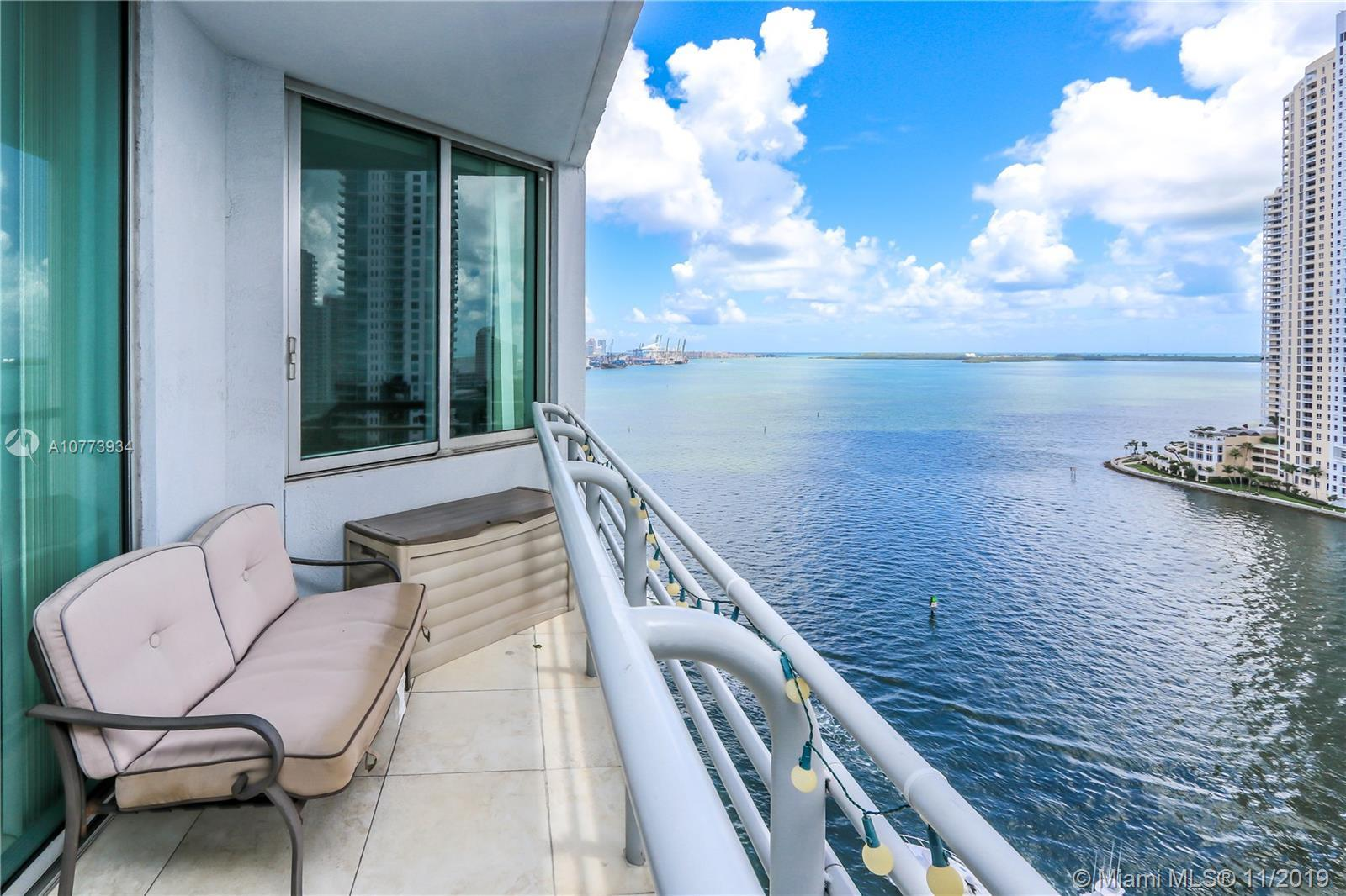 Beautifully furnished 2 bedrooms 2 baths condo with direct views of Biscayne Bay, Miami River, and B