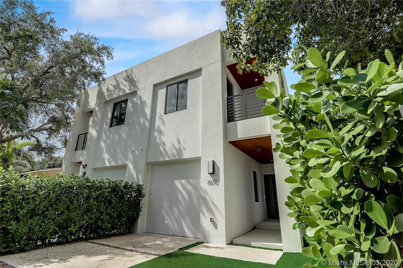 New Construction Coconut Grove Townhouse featuring 3 bedrooms, 4 bathrooms plus den. Top of the line