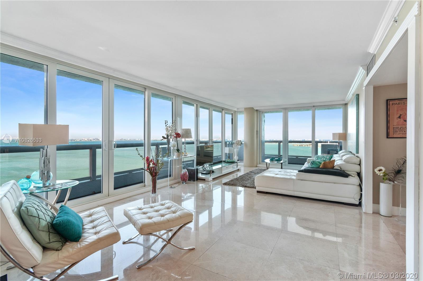 Captivating views of Biscayne Bay, Miami Beach and Port of Miami from this much sought after Line in