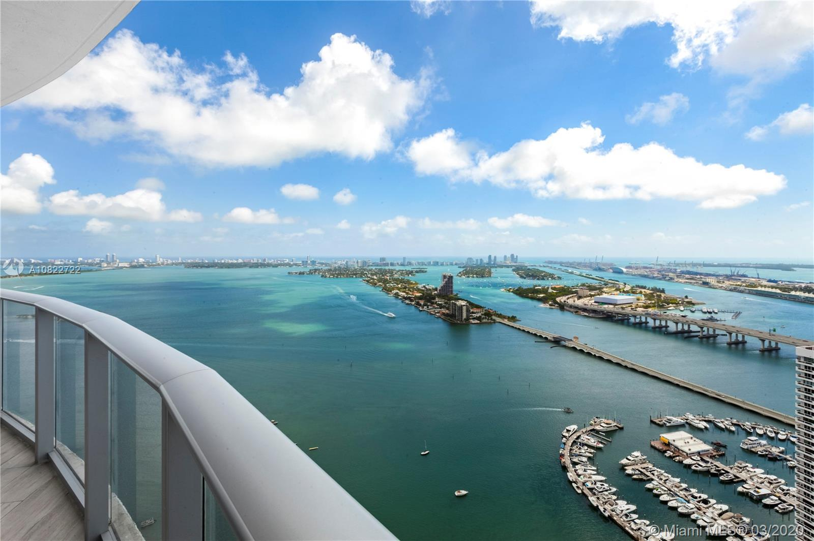 Breathtaking panoramic views of Biscayne Bay and Miami Skyline from this 3 bed & 4 bath stunning 48t