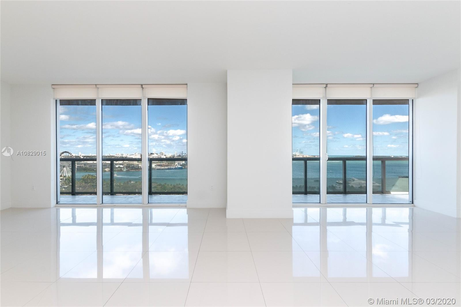 Incredible ocean views, overlooking Bayfront Park , the Port of Miami and South Beach! This spacious