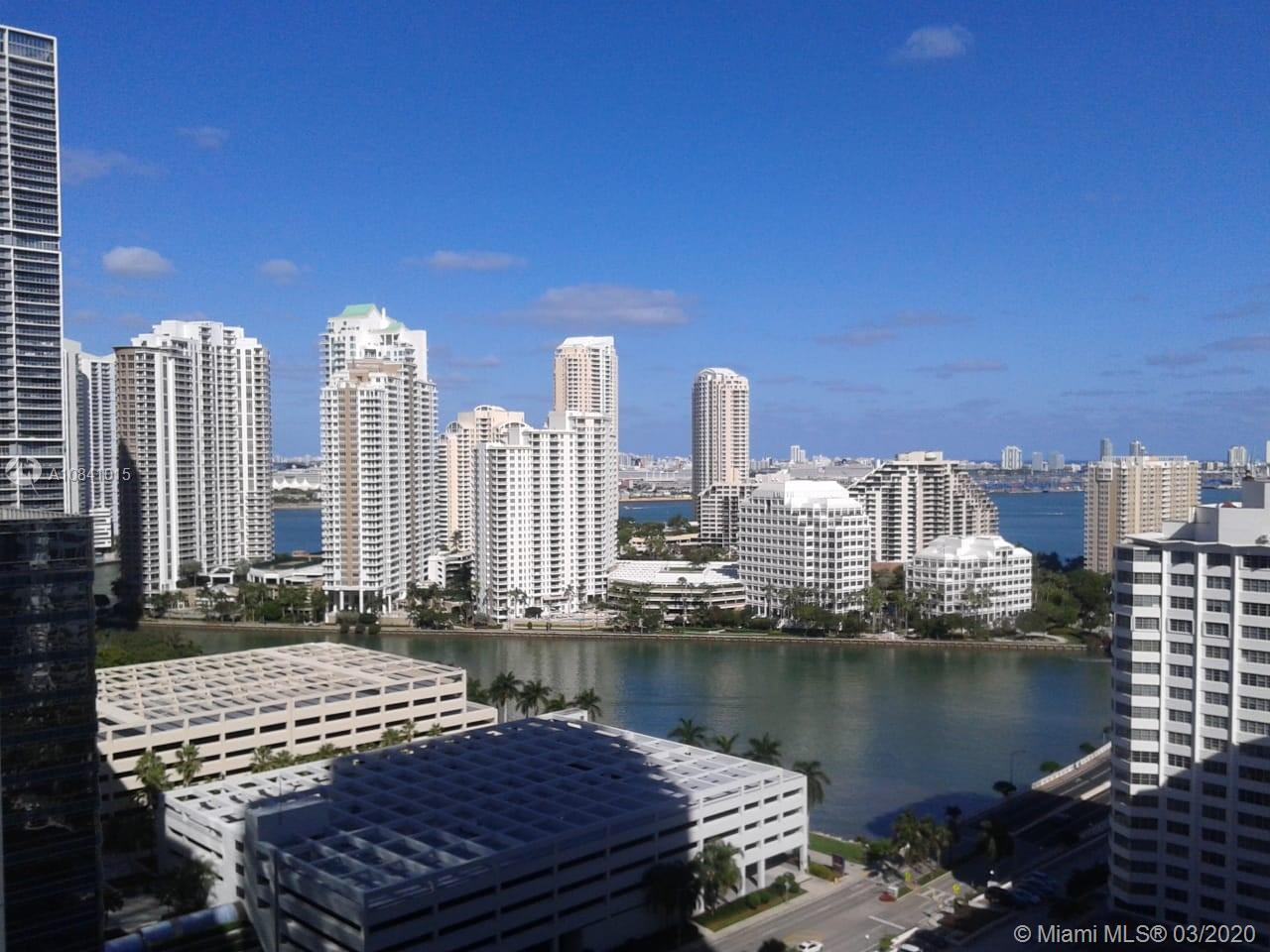 Best Priced 1/1 at The Plaza Brickell. It features open floor plan, corner unit and partial water vi