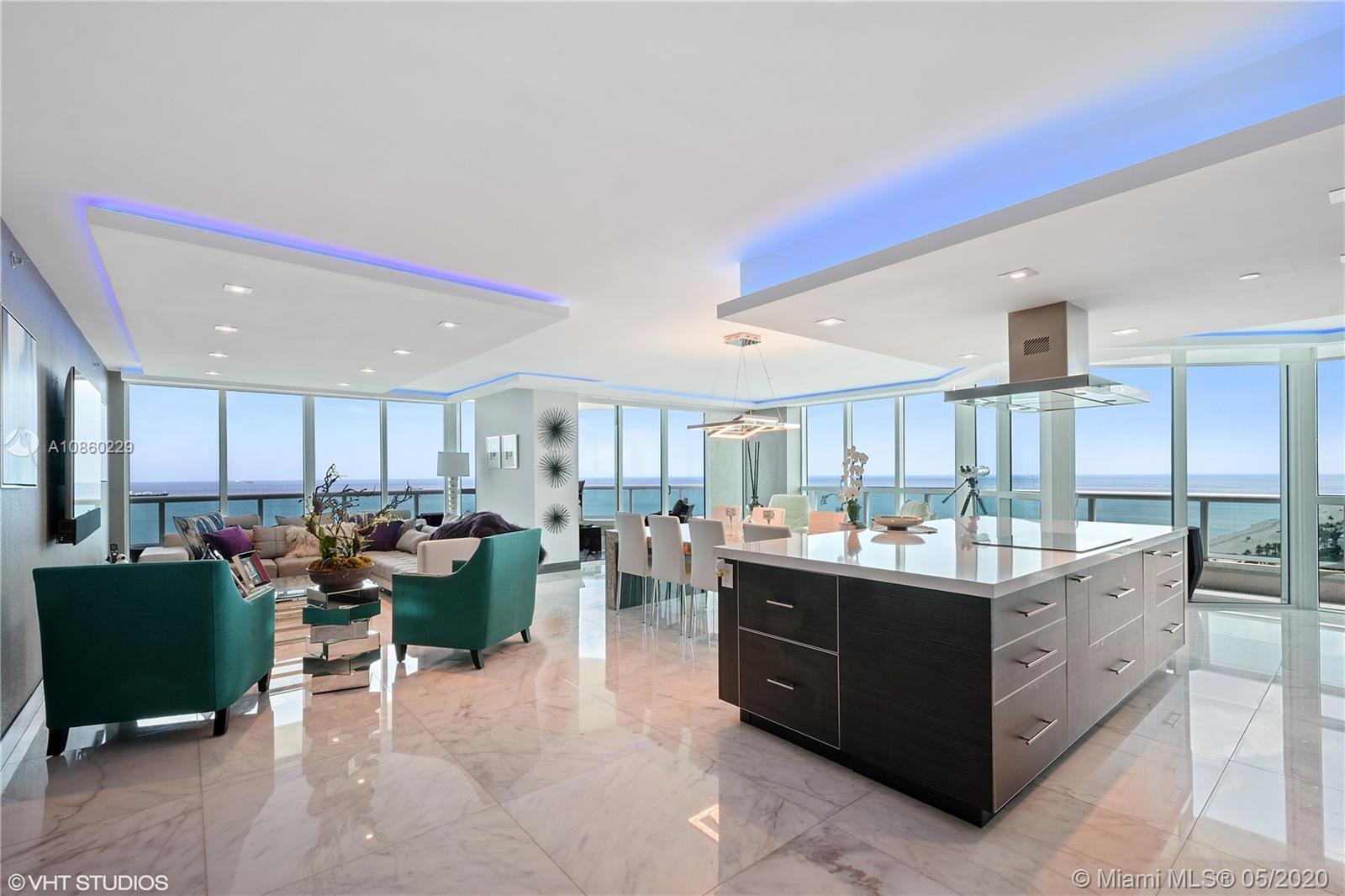PRIME LOCATION ON A1A WITH PANORAMIC SE OCEAN VIEWS ON THE 24TH FLOOR! THIS BEAUTIFUL TURNKEY CONDO