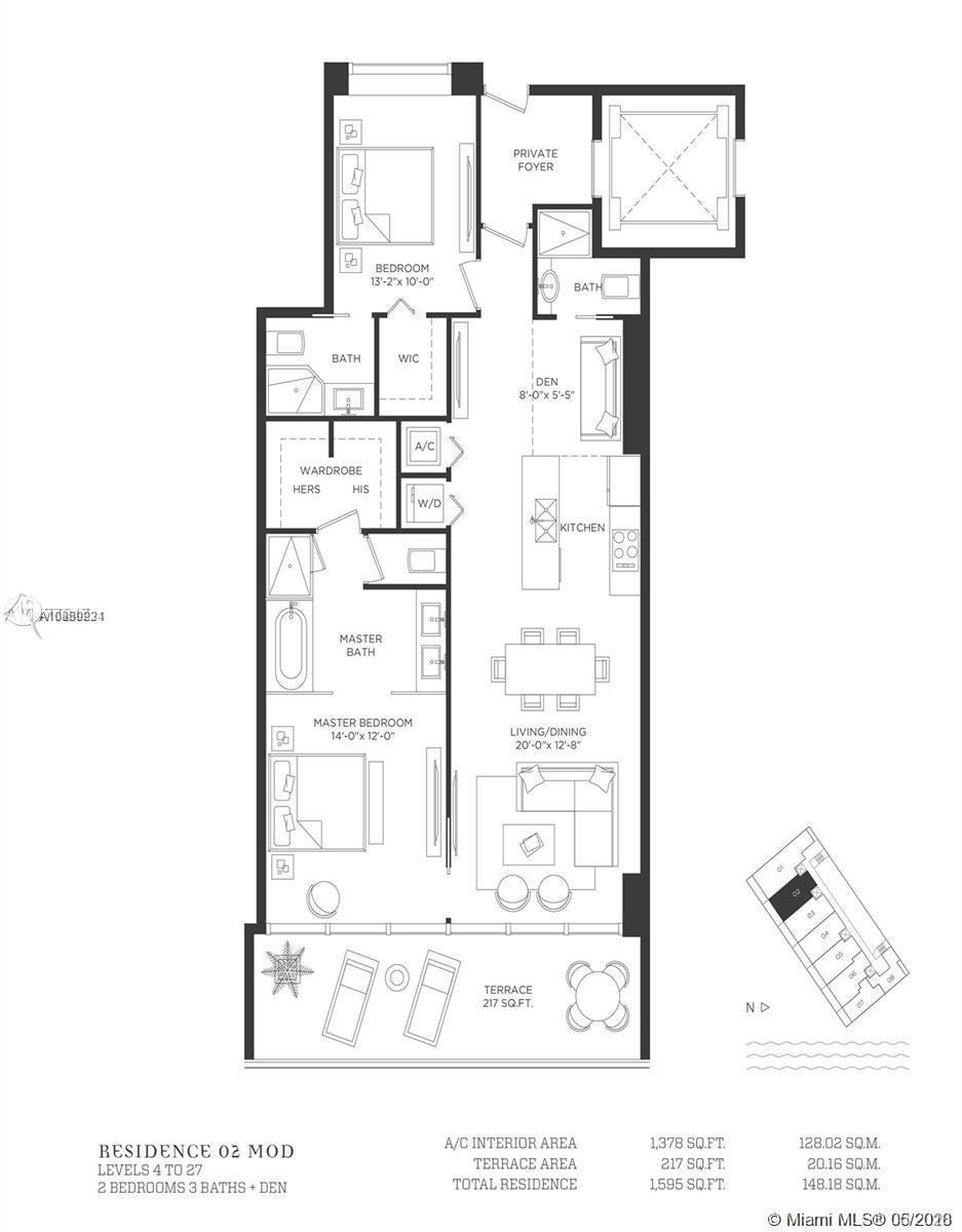 1378 Sq Ft. 2 Bedrooms 3 Baths + Den with bay views, new construction in Edgewater. Private elevator