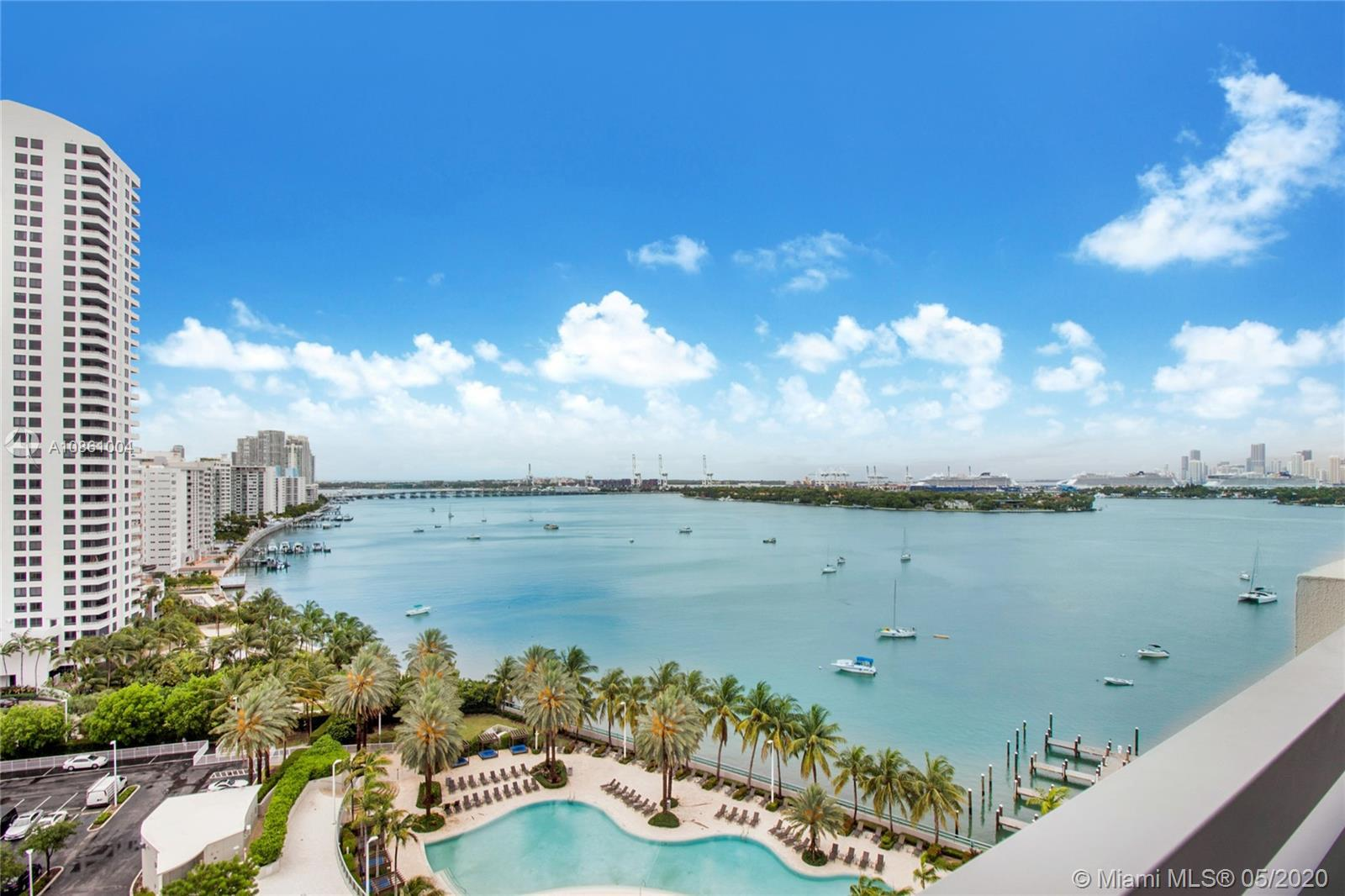 Spectacular Bay views from this completely and tastefully renovated PH 2 bedroom 2 baths with high v