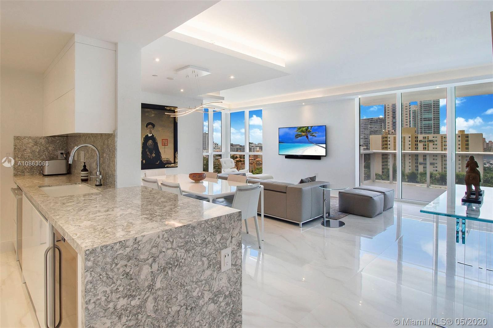 An upscale, fully-renovated corner apartment at the Murano Grande in South Beach.  This two bedroom