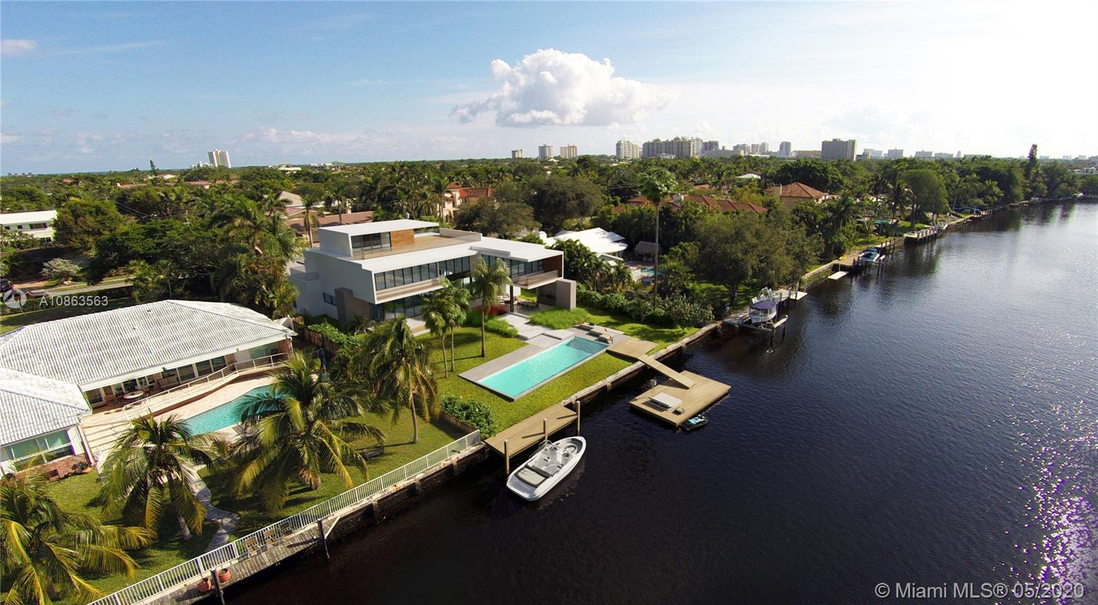 Unique, stunning, modern estate. 100 ft water frontage with panoramic views and dock. Infinity pool