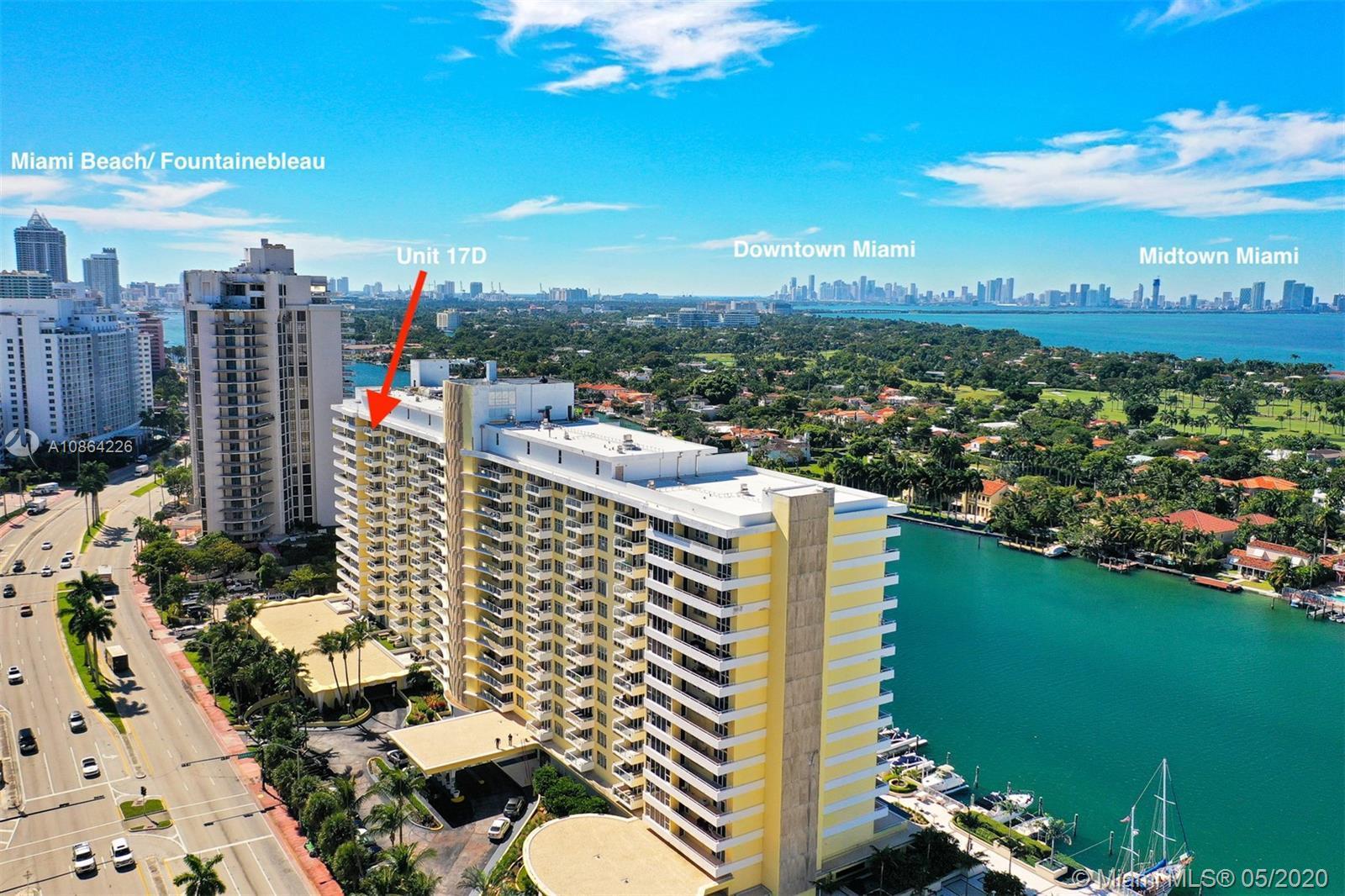 Phenomenal Miami Beach location! Beautiful 17th floor unit is the top floor of this 2/2 split floorp