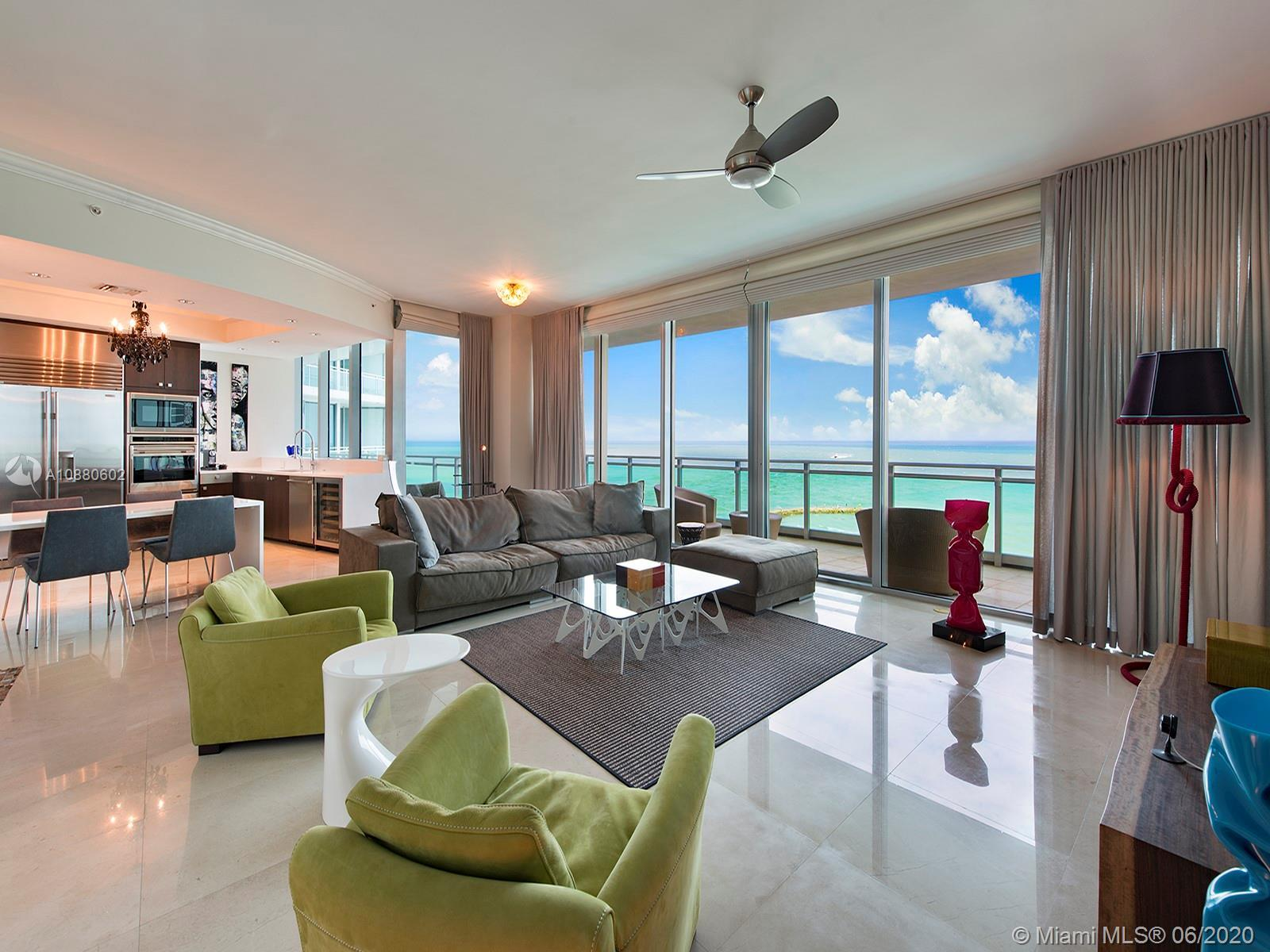 Enjoy direct oceanfront sunrise views from this sleek 7th floor unit at One Bal Harbour. This spacio
