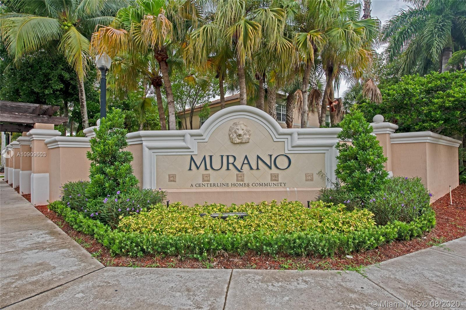Beautifully kept 3 bedroom 2.5 bath Townhouse in sought after Murano, Miramar. Spacious kitchen with all stainless steel appliance. Breakfast bar. Wood floors downstairs and upstairs. Crown molding throughout the entire home. Knockdown texture walls. Large stairs landing. Well kept master suite bathroom. Newer A/C replaced in 2017. Storm shutters. 1 car garage plus drive way space for 2 more cars! Well maintained Guard gated community. Pool, gym, tennis courts and tot lot for family entertainment. Conveniently located close to major roads and highways. Move-in ready!