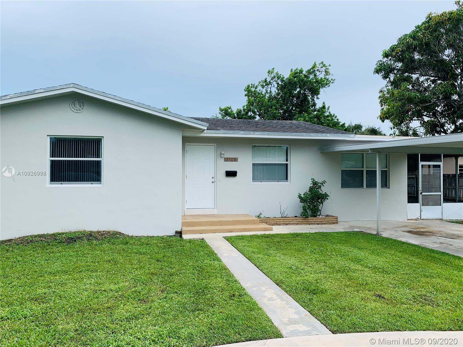 Nicely remodeled house in Hollywood. Is a 3/2 with a screened patio and cover parking. About 1,900 s