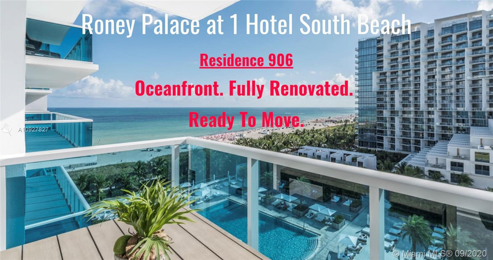 Oceanfront. Fully renovated. Move-in ready. In one of South Beach's most exclusive corners. At South
