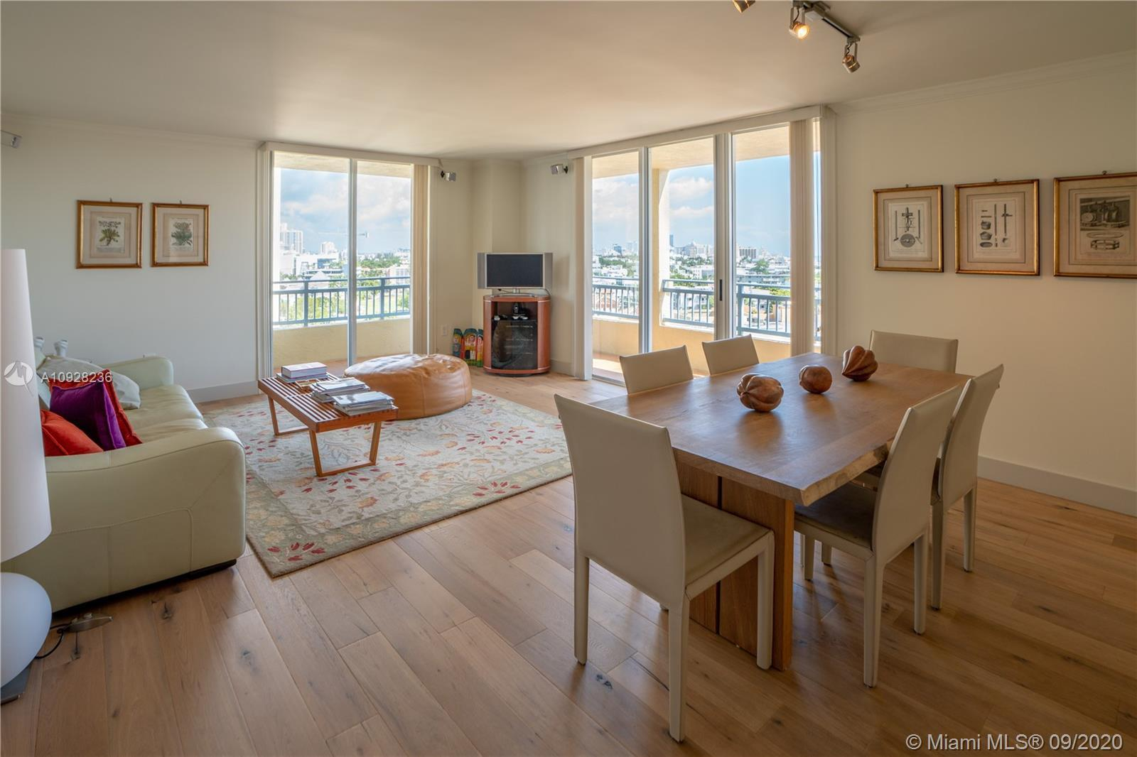Beautifully remodeled two-bedroom unit with spectacular city, ocean and bay views. This corner unit