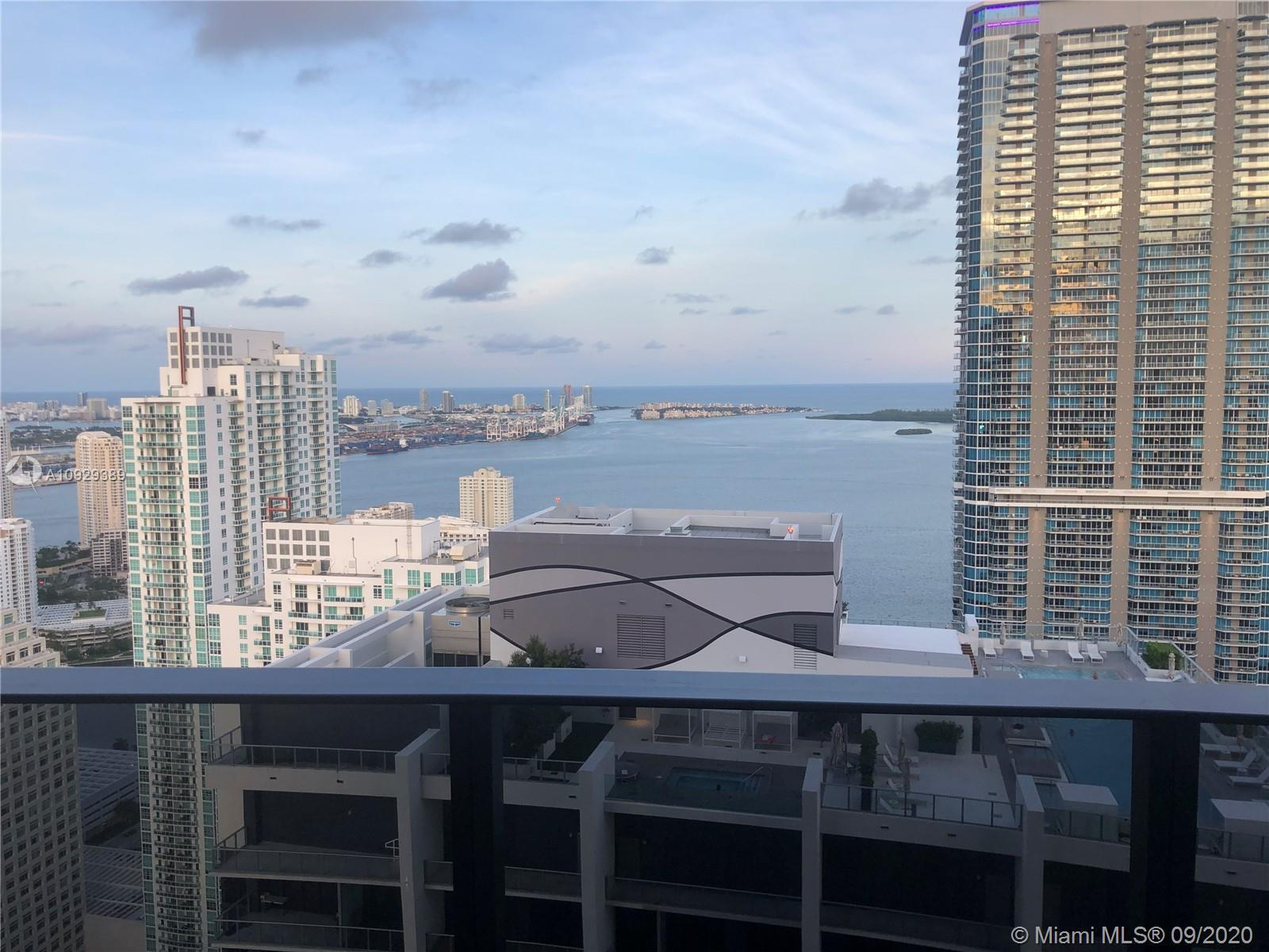 Worldclass views from this 2 Bed + Den/2.5 Bath Lower Penthouse at Brickell Flatiron with higher cei