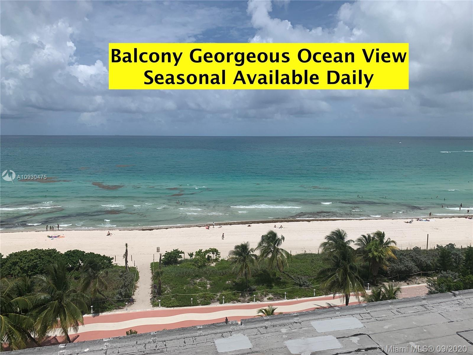 OCEAN View with Balcony , Very rare studio, just few in the building. ONLY 1 for sale like this!...M