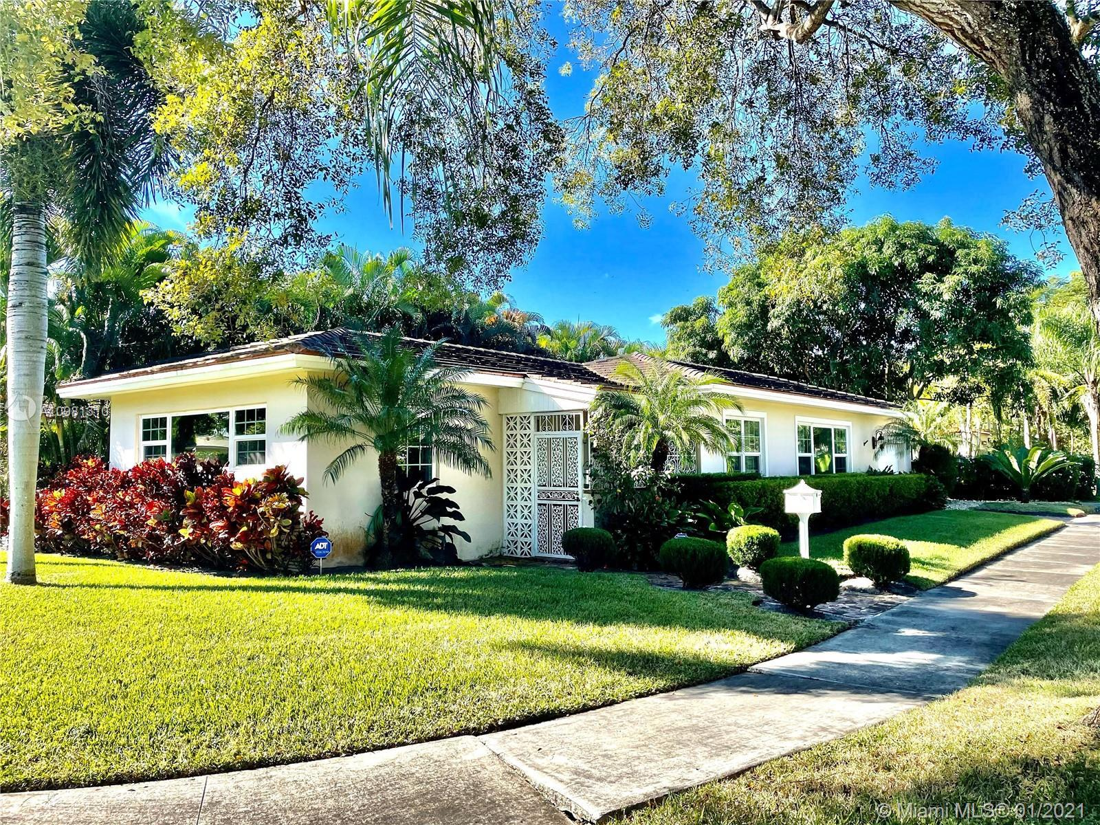 Very spacious 2 bedroom and 1 bath Miami Shores corner home. Interior has wood floors and tile in be
