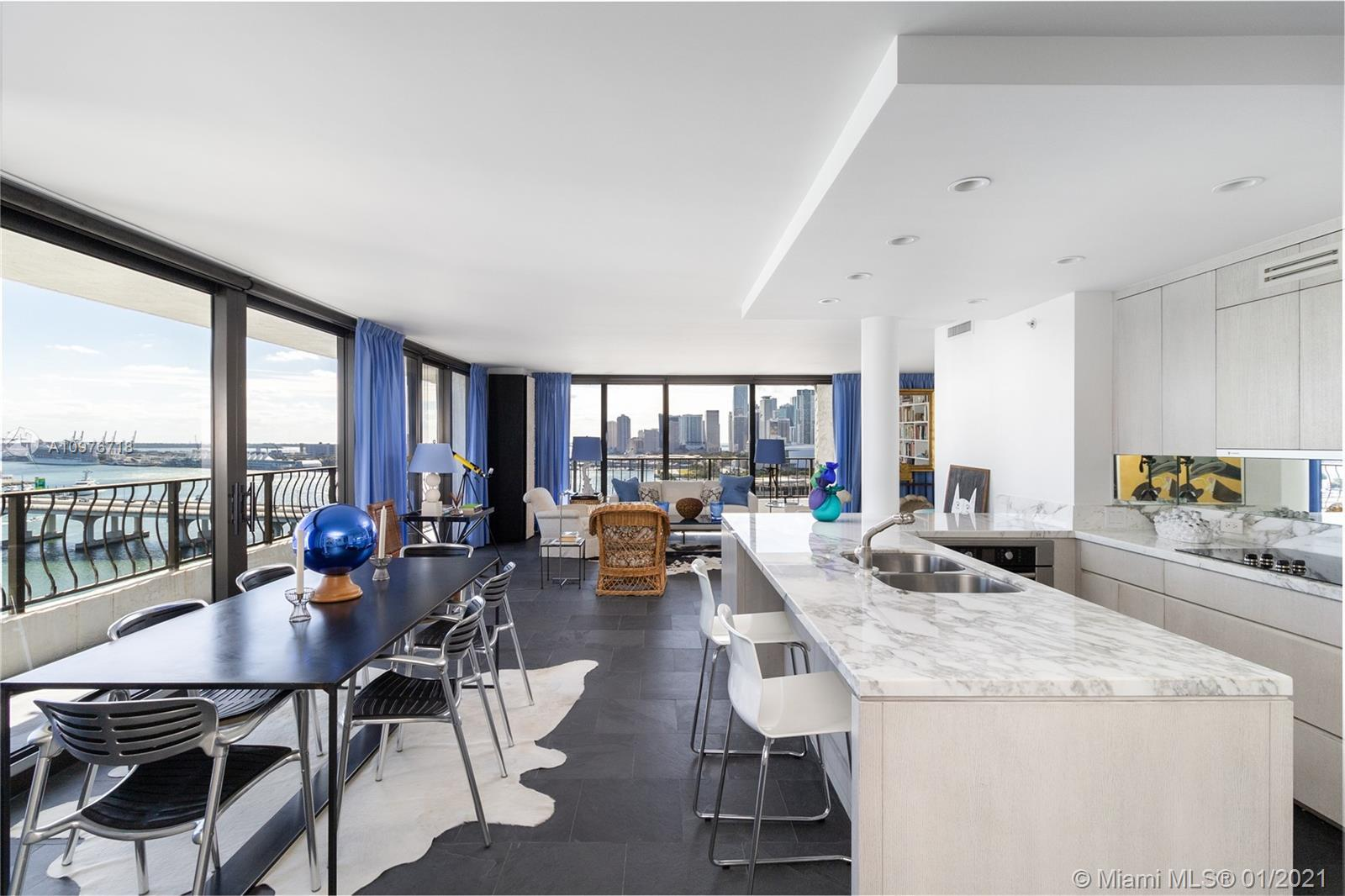 Spectacular Views of Biscayne Bay,  Miami Beach, the port of Miami and downtown.  Impeccably renovat