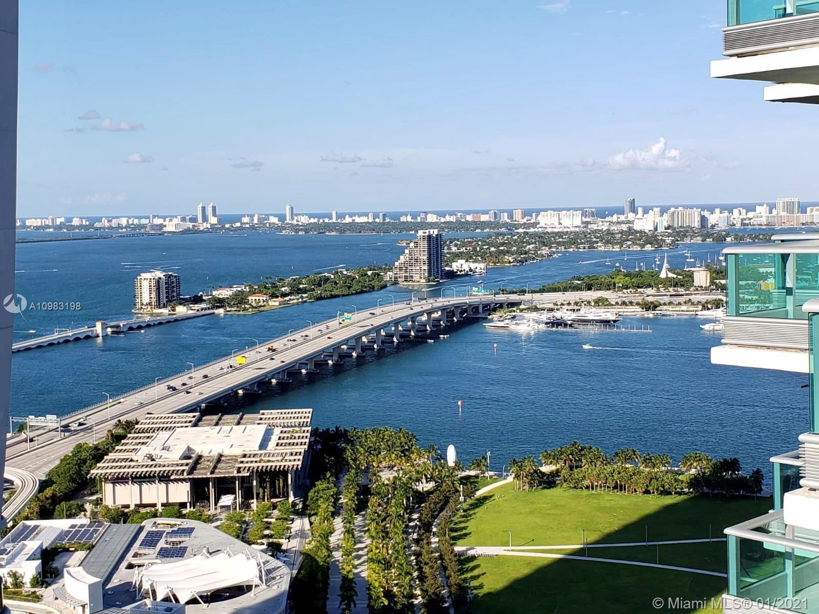 Stunning 180 degree views of Biscayne Bay, Atlantic Ocean & Miami Skyline. Large 2 terraces overlook