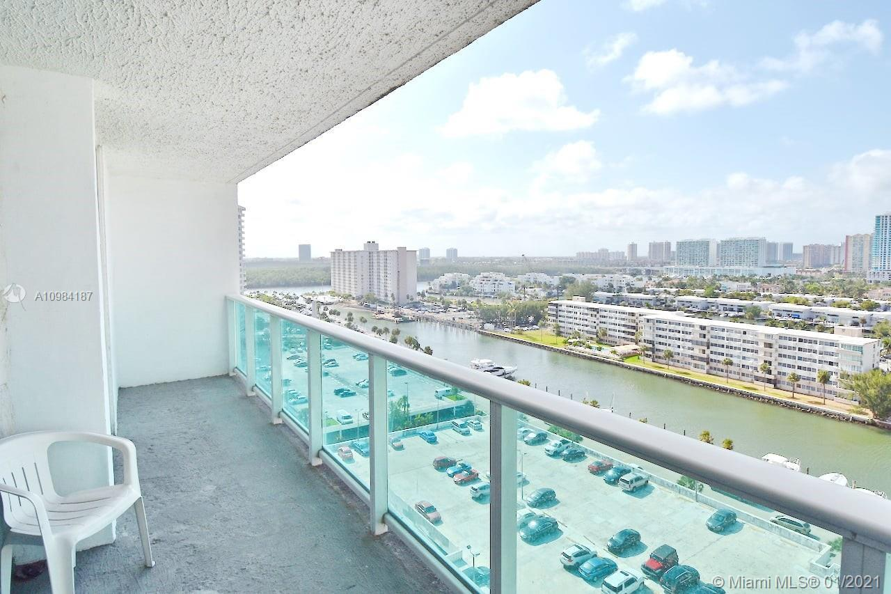 Large size 2 bedrooms 2 baths condo apartment with great canal views in Sunny Isles Beach, Florida.