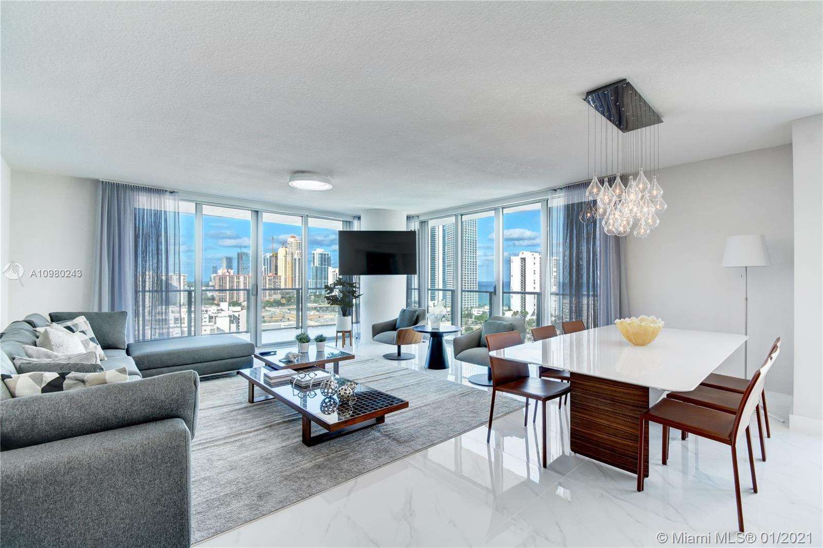 Wow! PRICED TO SELL, completely furnished, awesome views from this high floor to the city, ocean, an