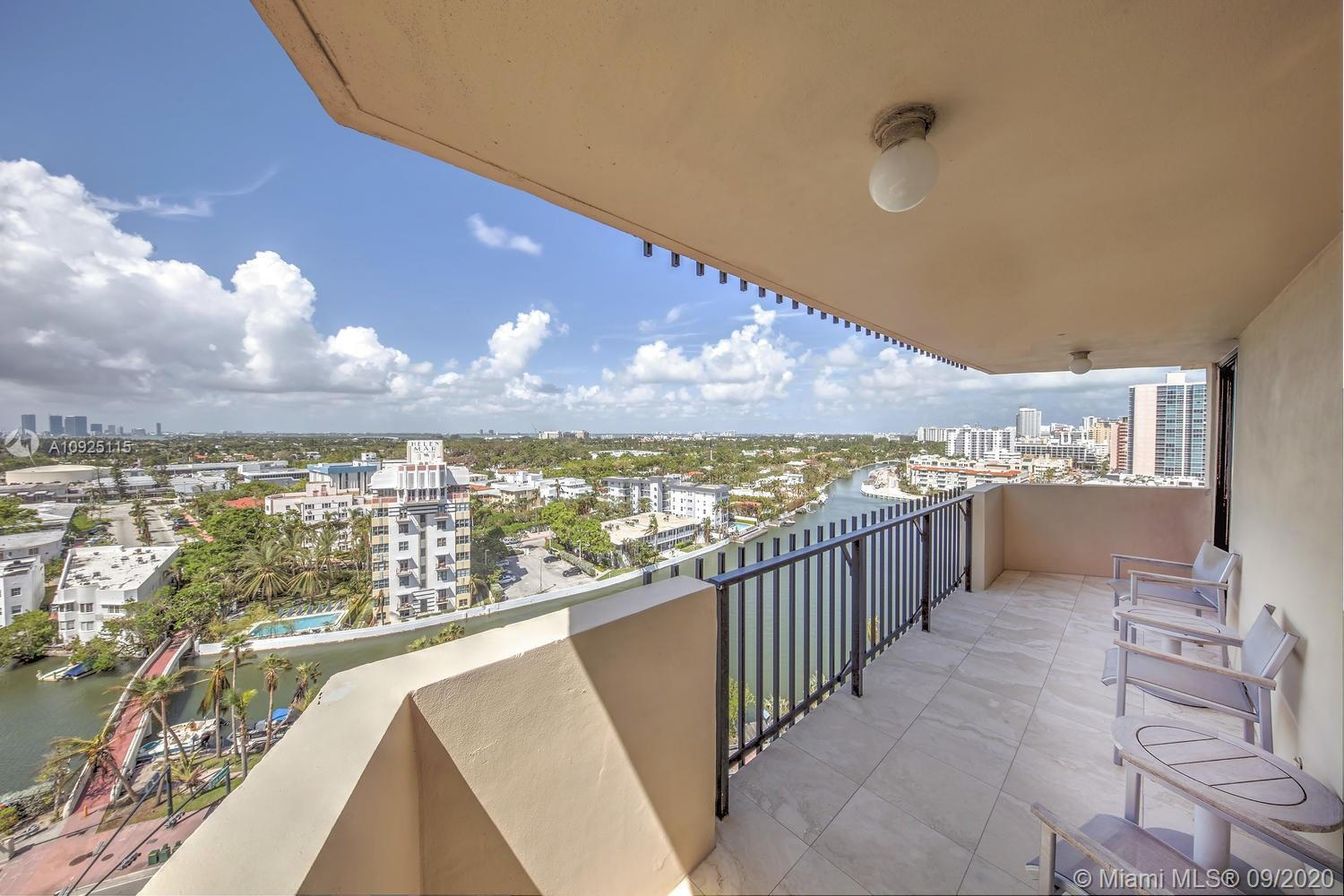Located in an OCEANFRONT building, this OVER SIZED 2/2 with marble floors boasts views of downtown a
